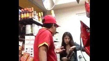 Девушка со стикини на сосках выебана мужиком с камерой